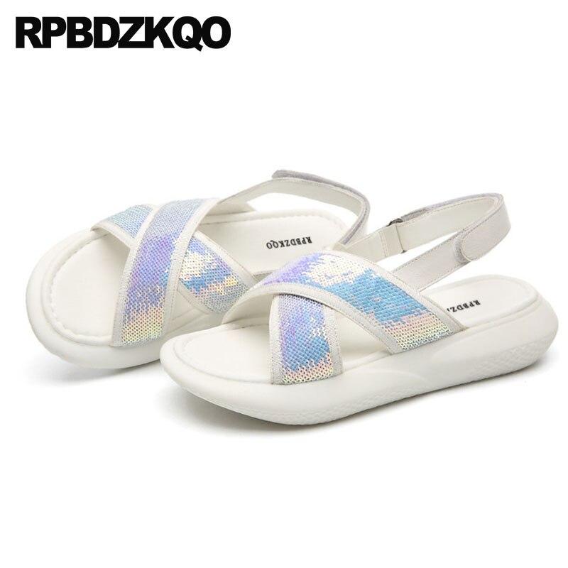 Women Sandals Flat Casual Bow Slingback Paillette Bling Platform Flatform Sneakers Bowtie Plus Size Sequin Soft Shoes Glitter