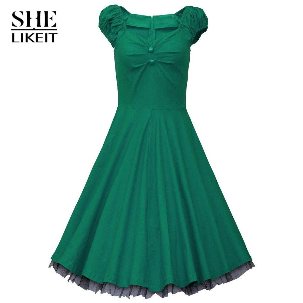 ZAPUYO Noble Dresses Black Women\'s 1950s Style Vintage Swing Party ...