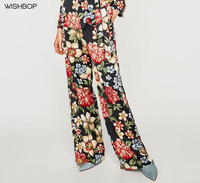 WISHBOP 2017 NEW Woman Fashion Wide leg Multicoloured floral print PALAZZO trousers side pockets Long Pants