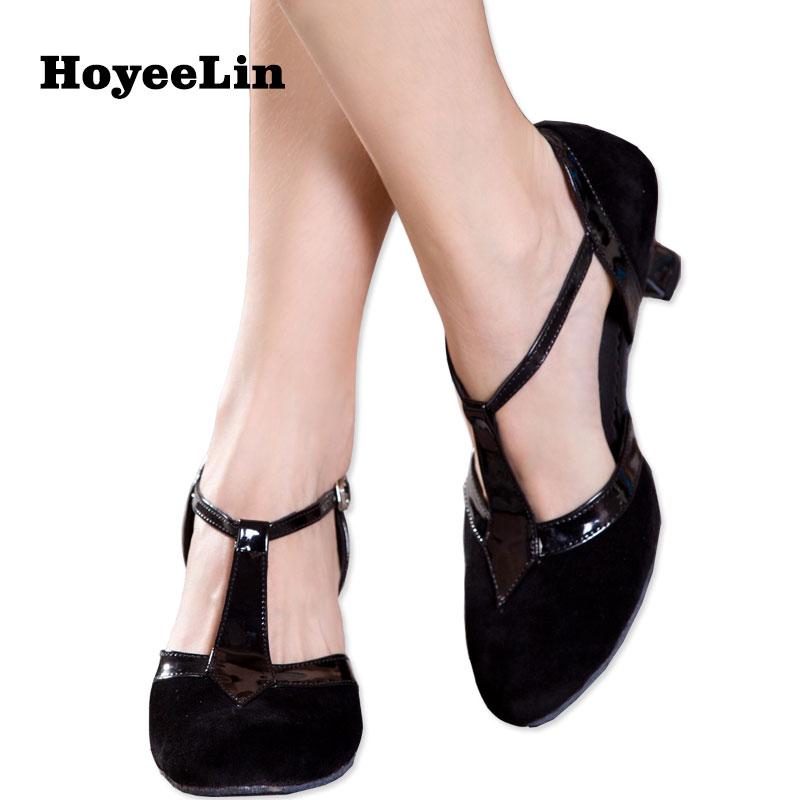 HoYeeLin Modern Tango Dance Heels Women Closed Toe Indoor Ballroom Party Dancing Shoes Customized Heels