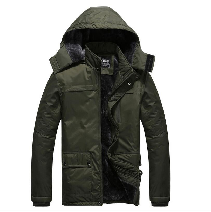The Elderly 2017 New Mens Winter Parka With Fur Hood Thick Detachable Cap Chaqueta Hombre Invierno Long Big Yards Coat  A2209