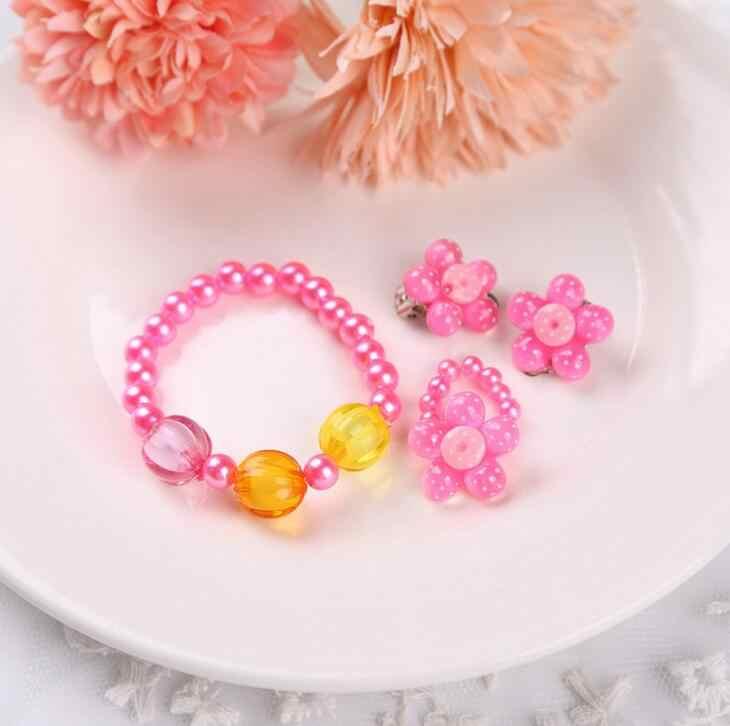 4 шт., имитация жемчуга, ожерелье с подсолнухом, браслет, кольца, серьги, комплект ювелирных изделий, детский подарок на вечеринку