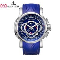 Reef Tiger/RT Mens Sport Watch with Chronograph Date 316L Steel Big Blue Dial Rubber Strap Quartz Watches RGA3063