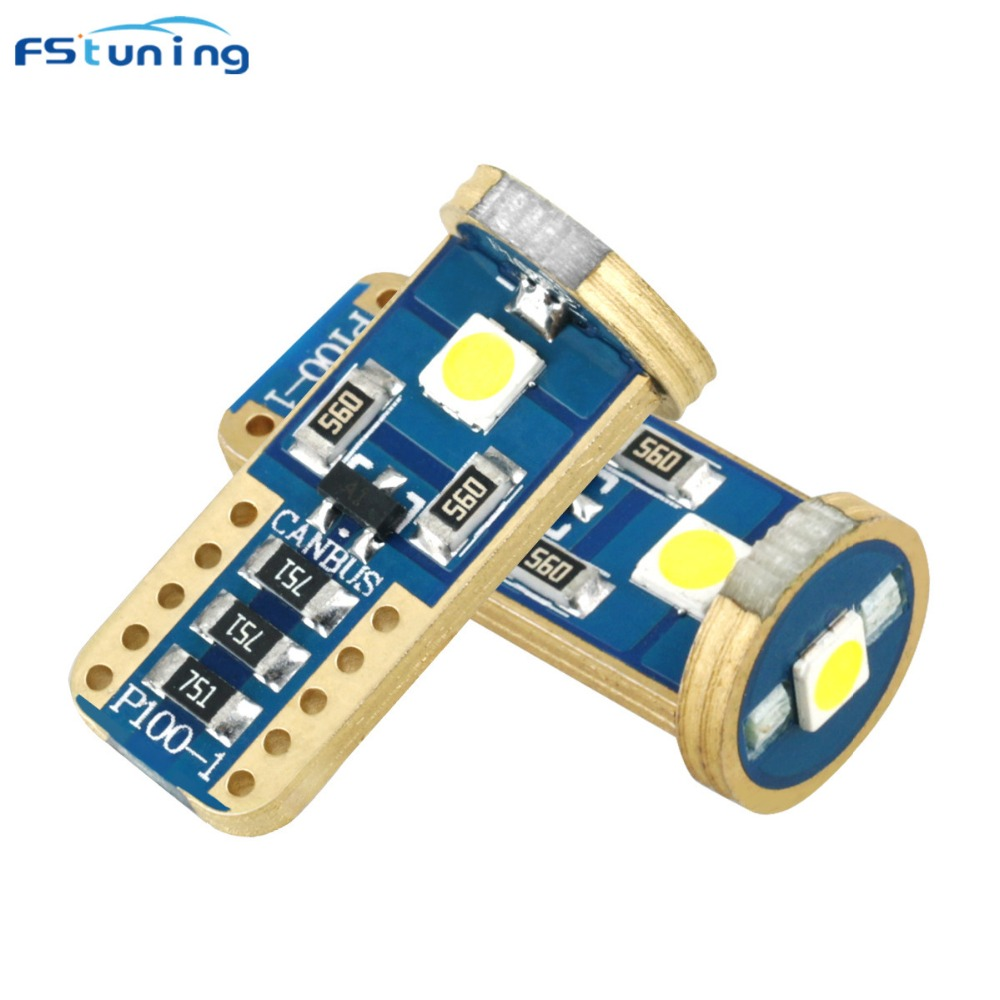 FSTUNING Canbus Super Bright 194 192 168 T10 W5W 282 LED Light Bulb wedge parking dome light white auto for lada car styling