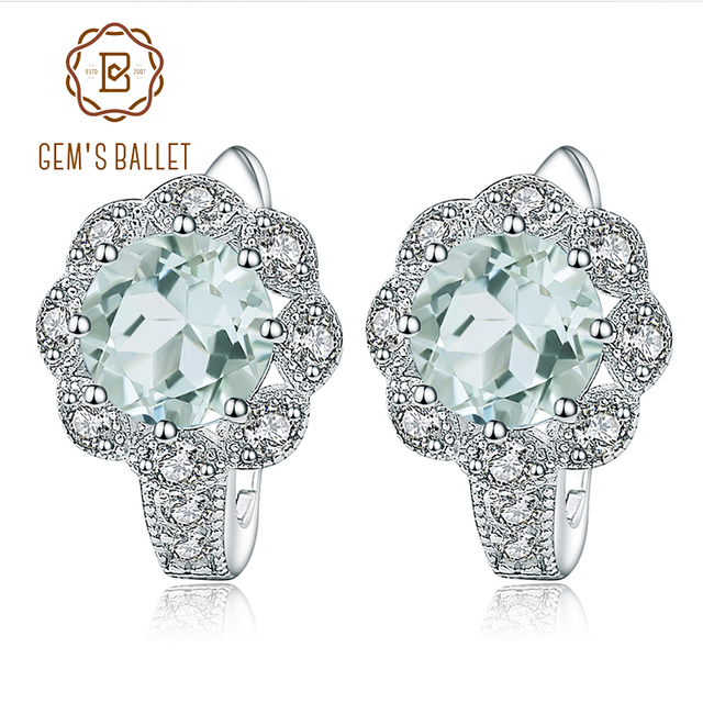 GEM'S BALLET 2.52Ct Natural Green Amethyst Engagement Earrings 925 Sterling Silver Gemstone Stud Earrings for Women Fine Jewelry