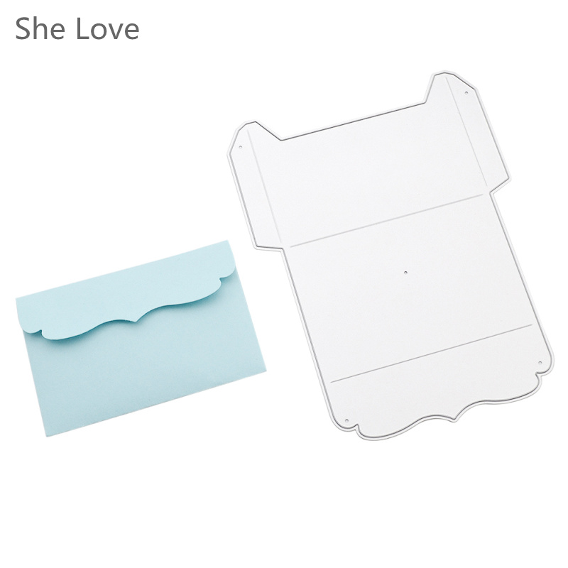 She Love Official Store She Love Metal Lace Envelope Cutting Dies DIY Scrapbook Photo Album Wedding Decorative Embossing Decoration Craft