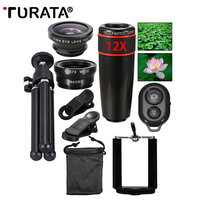 TURATA Universal Phone Camera Lenses Kit 12x Telephoto Lentes Fisheye Wide Angle Macro Lens for iPhone 7 6S Xiaomi Huawei P8 P9