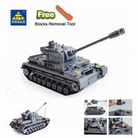 KAZI 82010 1193 Large Panzer IV Tank Building Blocks DIY Bricks Set Educational Toys For Children Compatible Legoingly City tank