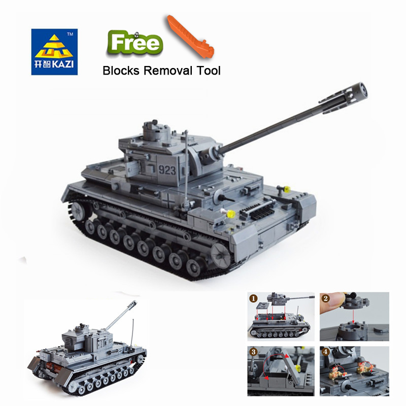KAZI 82010 1193 Large Panzer IV Tank Building Blocks DIY Bricks Set Educational Toys For Children Compatible Legoe City tank