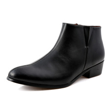 Fashion High Quality Ankle Boots Men Heel Genuine Leather Martin Boots Waterproof Point Toe Btirish Bare Boots Shoes High Heels