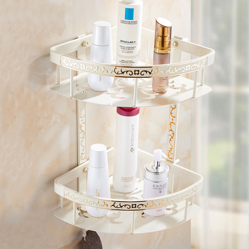 european dual tier storage rack shelf bathroom producks corner rack white zinc alloy triangle