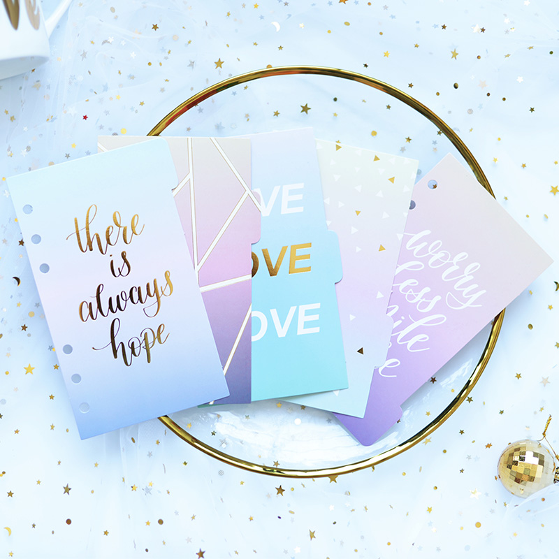 Lovedoki Cute Creative Gold Foil Design 6 Holes Paper Index Dividers For Dokibook Diary Binder Planner Notebooks,A5A6,5 Pieces