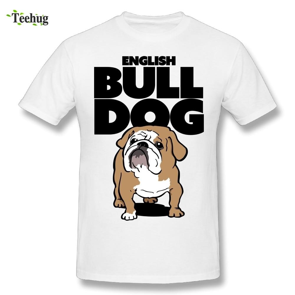 Cute English Bulldog Cartoon Dog T Shirt 100% Cotton Homme Tee Shirts For Man Fashion Streetwear