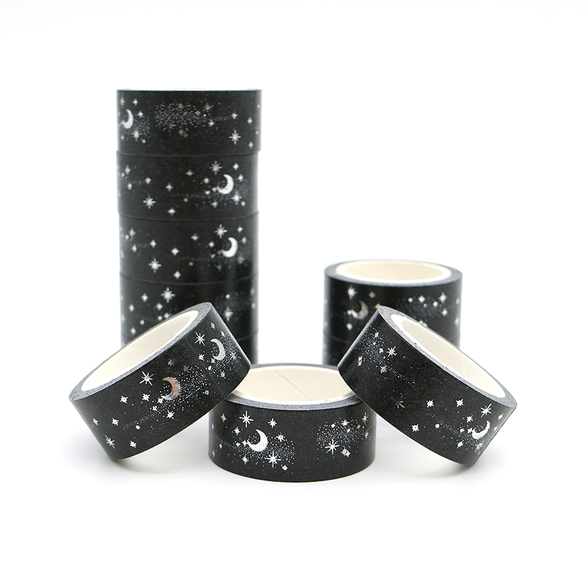 5m*15mm Starry Night Japanese Washi Tape Black Color Moon Pattern Decorative Adhesive Masking Paper Tapes 1 PCS
