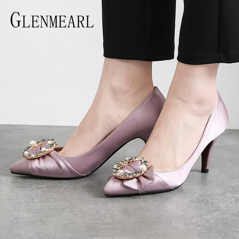 Women High Heels Fashion Woman Shoes Rhinestone Pearl Pumps Silk Vamp Heels Shoes Woman Pointed Toe Non-slip Brand Plus Size DE