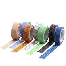 цена на DIYsuper Long Square Plaid Japanese Paper Tape British Style Colorful Decorative Paper Tape Sci-fi Sense Pattern Stationery Tape