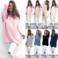 New Womens Ladies V-Neck Camisolas Quentes Casual Camisola Jumper Tops Outwear