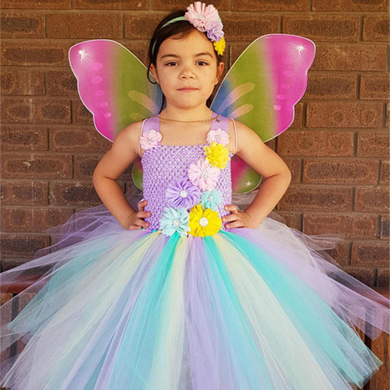 Rainbow Flower Fairy Tutu Dress With Wings Girls Tulle Princess Dress Knee Length Kids Party Dresses For Girls Halloween Costume tulle trim layered knee length tee dress