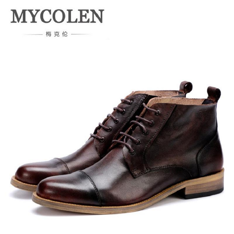 MYCOLEN Genuine Leather Marten Boots Autumn High Quality Designer Men Shoes Lace Up Cowboy Ankle Boots Winter Shoes Obuwie top new men boots fashion casual high shoes cowboy style high quality lace up classic leather ankle brand design season winter
