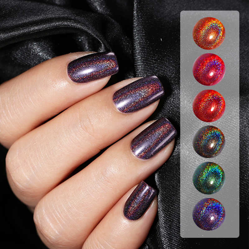 BORN PRETTY 6ml Holographic Nail Polish Black Red Glossy Laser Holo Glitter  Nail Lacquer Varnish Manicure Nail Art Polish