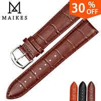 MAIKES New Watch Accessories Watch Bracelet Belt Soft Genuine Leather Watch Band Watch Strap 16 18 20 22 24 mm Watchbands