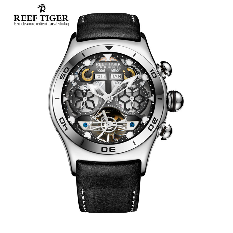 Reef Tiger RT Mens Sport Watches Big Skeleton Dial Luminous Tourbillon Watch Year Month Calendar Steel