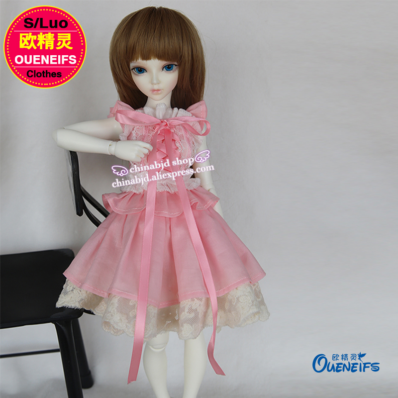 OUENEIFS free shipping summer sweet lace sleeveless princess dress chiffon and pink dress 1/4 bjd sd doll clothes YF4 to 18