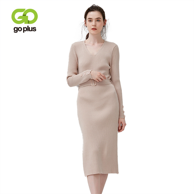 GOPLUS 2019 Winter Knitted Sweater Dress Women Sexy V-Neck Warm Slim Midi Dress Solid Long Sleeve Buttons Sashes Vestidos Female