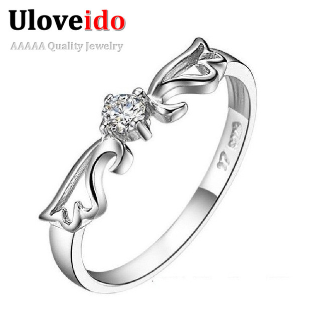 15% off Angel Wing Wedding Ring Silver Plated Cubic Zircon Fashion Rings Women Jewelry with Stones Wholesale Sale Uloveido J001