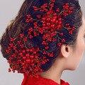 Bridal Decorative Hair Comb Wedding Bridal Glass Red hair combs Flower Hair Handmade Bridesmaid Jewelry Hair Accessories 2016