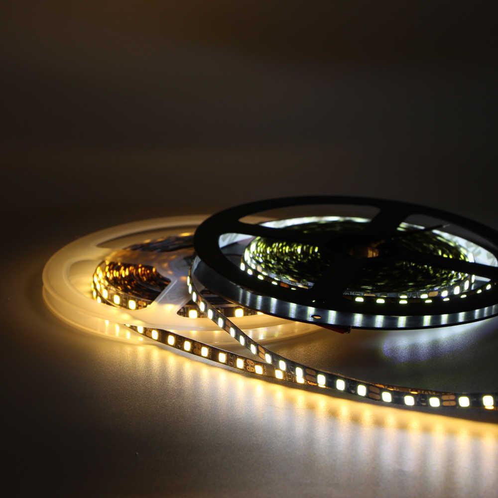 5 м светодиодный полосы света 2835 3528 SMD 120 светодиодный/m 60 светодиодный/м шириной 5 мм гибкие полосы света IP20 не из водонепроницаемого материала затягивающая лента лампа AC/DC 12 V