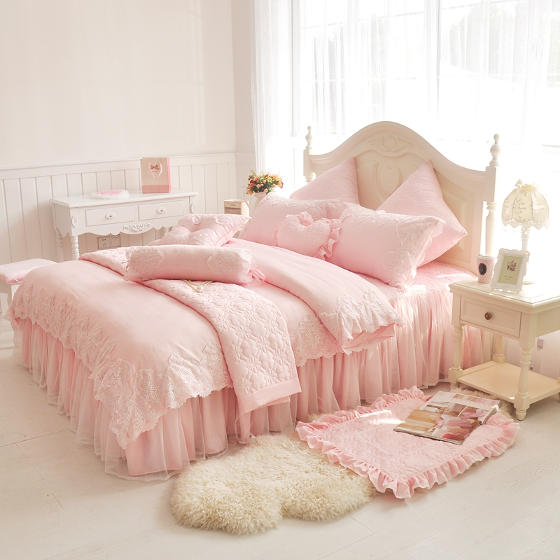 Pink lace princess duvet cover queen king size 4pcs girls for Lit queen size taille