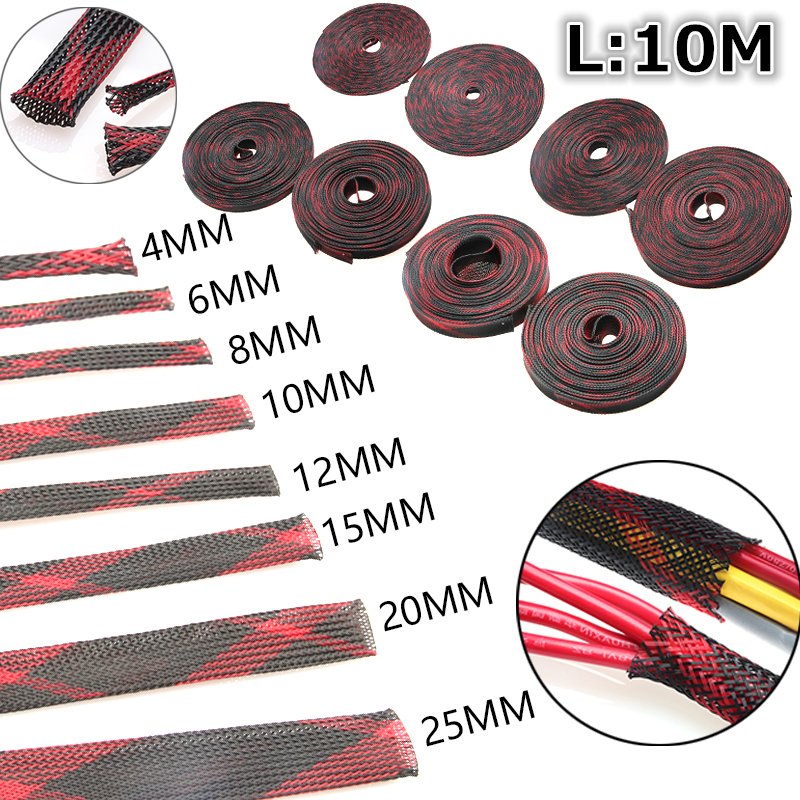 10M Insulation Braided Sleeving Wire Gland Cable Protection Black+Red 2/4/6/8/10/12/15/20/25mm Tight PET Expandable Cable Sleeve black wire spiral wrap sleeving band tube cable protector cable sleeve black wire protection spiral cable sleeve od 4 6 8 10 12