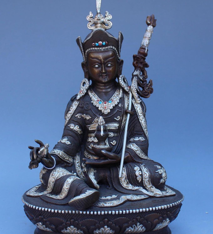 """9/""""Tibet Buddhism bronze Gilt Inlay Gem Padmasambhava Guru Rinpoche Buddha statue"""