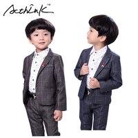 ActhInK New Design Baby Boys Formal Plaid Wedding Blazer Suit Brand Kids England Style Clothing Set Flower Boys Tuxedos, AC060