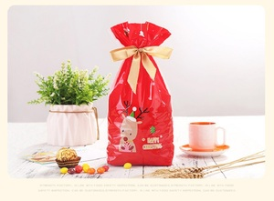 Image 3 - 5pcs Red Plastic Candy Bags Christmas Elk Candy Sweet Treat Bags Xmas Festival Gifts Holders Bake Biscuit Cookies Packaging Bags