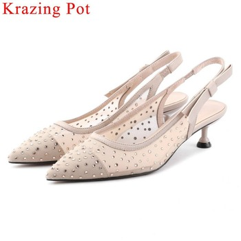 Krazing Pot princess style mesh genuine leather crystals studded pointed toe slip on med heels Mary Janes slingback sandals L19