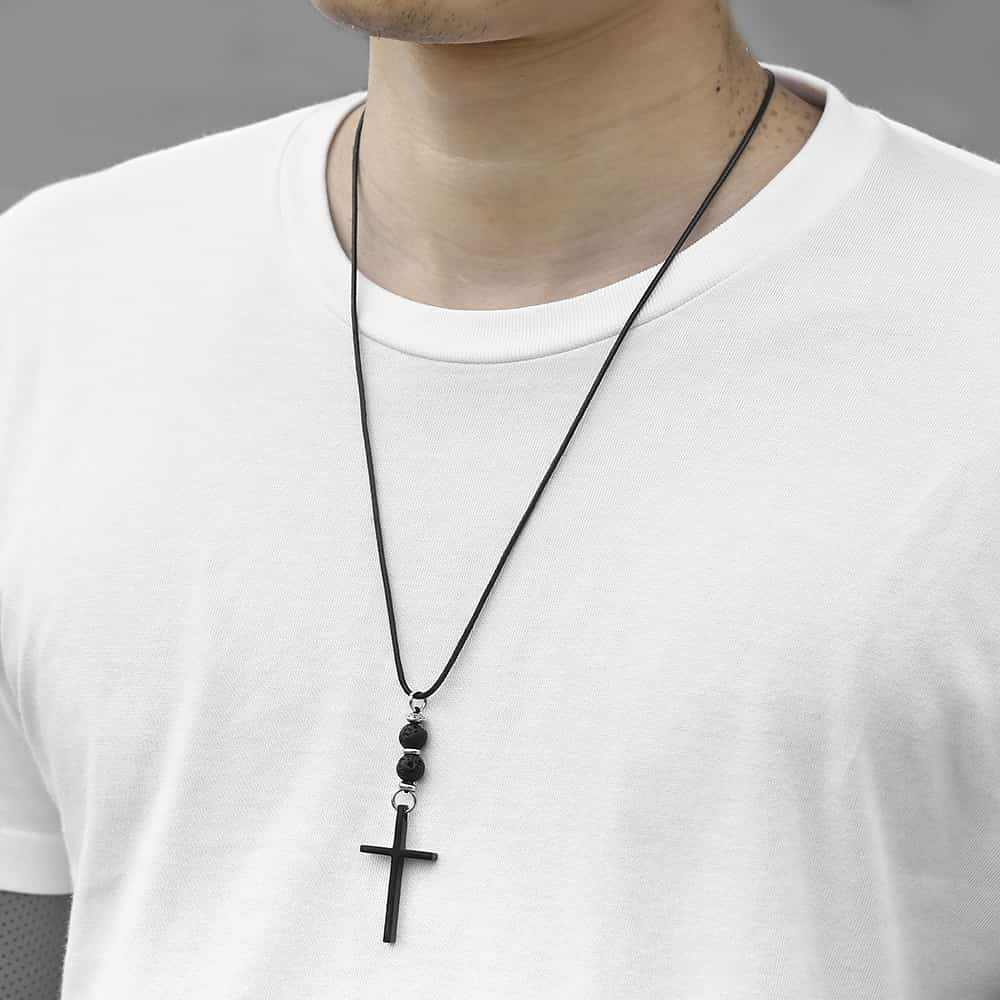 "32"" Men's Cross Necklace Leather Necklace Lava Bead Black / Silver Color Cross Pendant Necklace Male Jewelry Gifts for Men DNM03"