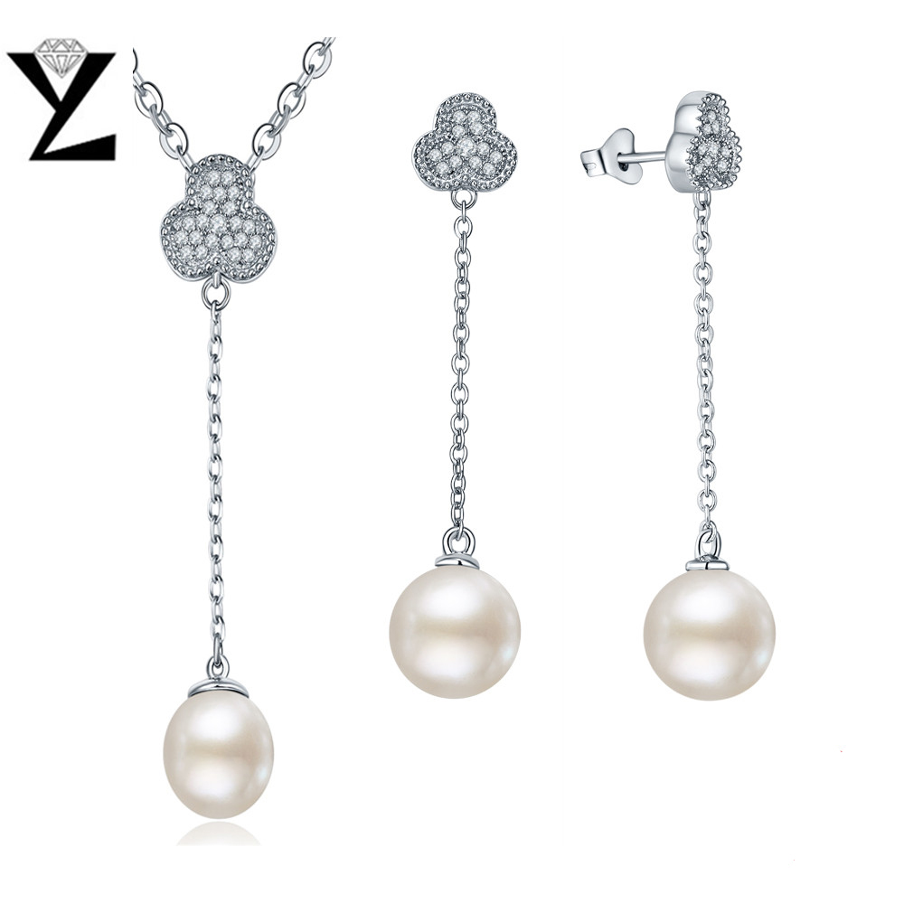 YL 925 Sterling Silver Jewelry Set 100% Natural Freshwater Pearl Jewelry for Women with Gift Box crystal jewelry set sterling silver jewelry 100% 925 formal jewelry set natural freshwater pearl