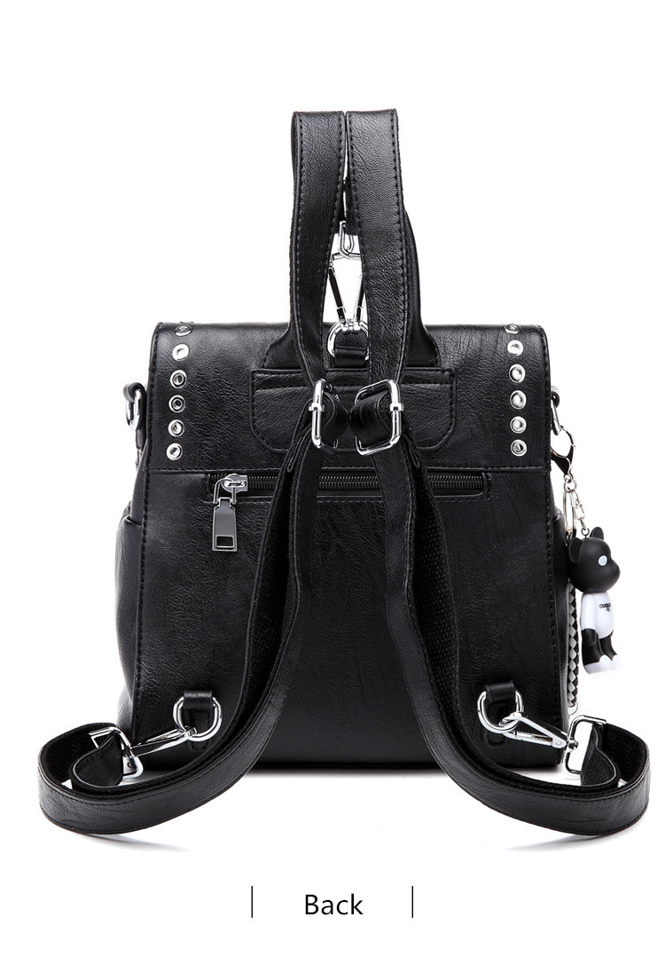 QINRANGUIO Leather Backpack Women School Bags for Teenage Girls 2019 New Fashion Large Capacity PU Leather Black Women Backpack
