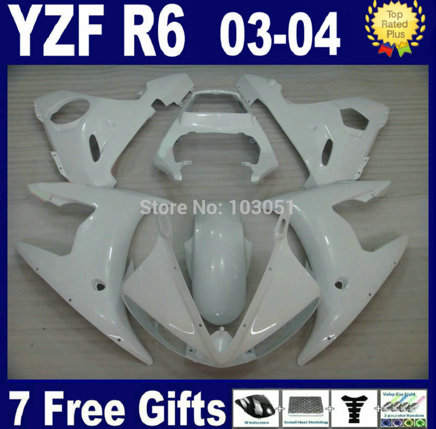 Customize OEM Road race fairings For Yamaha YZF 2003 2004 2005 R6 R YZF R6 03 04 05 plastics  full white aftermarket fairing kit