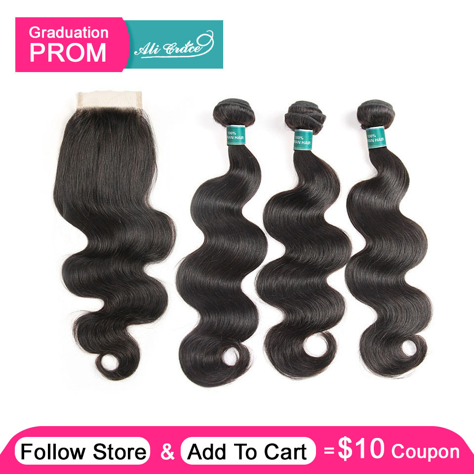 Ali Grace Brazilian Body Wave Hair With Closure 4 4 Free Middle Part Closure with Bundles