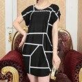 Новый 2016 летом мода женщин Большой размер платья широкий с коротким рукавом свободного покроя одевается бренд печать мини vestidos