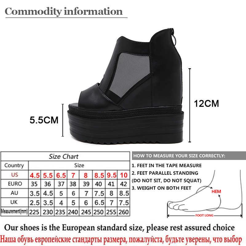 Gdgydh Kadın Yaz Ayakkabı 2019 Yeni Açık Ayak Yüksekliği Artan Takozlar Ayakkabı Kadınlar Hava Mesh Bayan Yaz Botları Fermuarlı