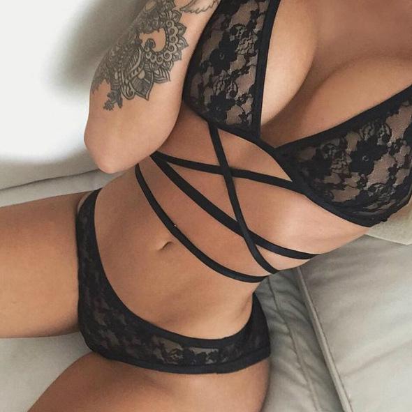 Sexy lace caged bandage bralette set