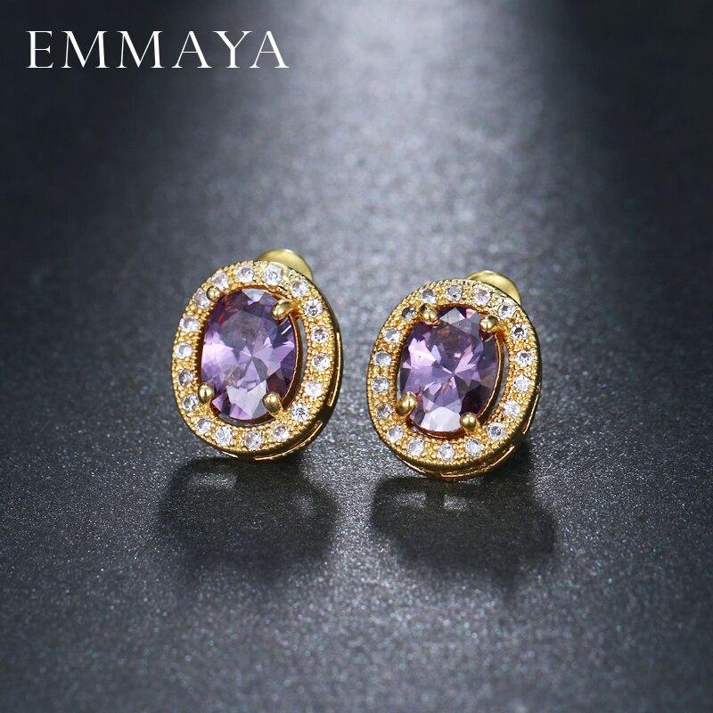 EMMAYA Fahsion Cute Purple Color CZ Stud Earrings For Women Children Girls Kids Jewellery Aros Aretes