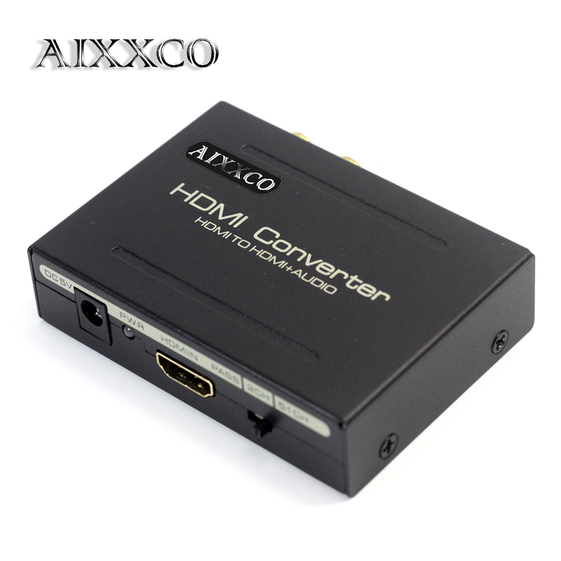 AIXXCO HDMI Audio Extractor Splitter to SPDIF RCA Stereo L/R Analog Output ConverterSplitter Adapter with Power Adaptor