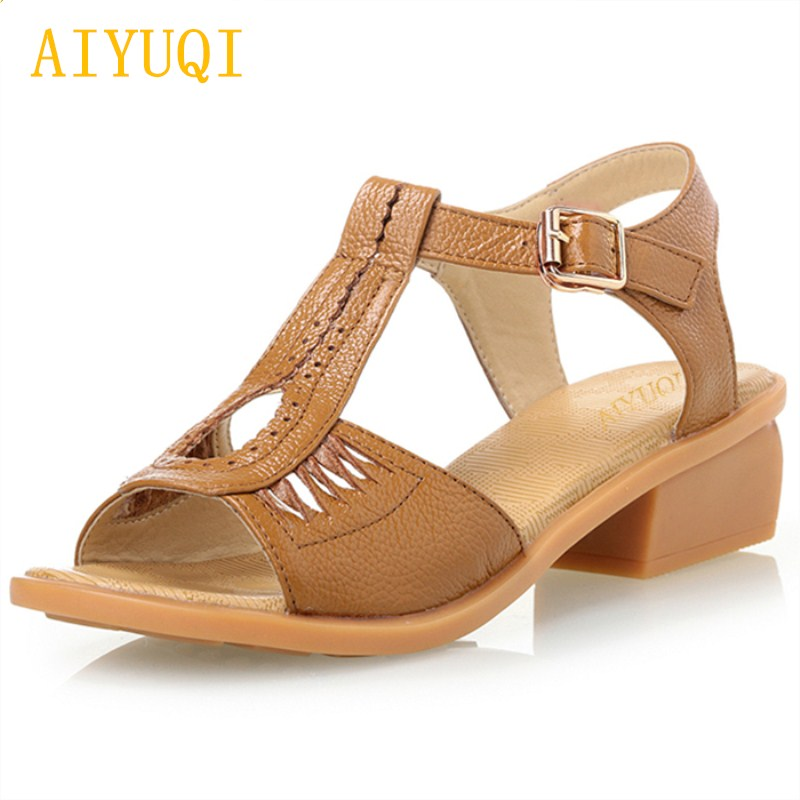 AIYUQI 2018 new summer genuine leather women's sandals soft comfortable light plus size 41#42#43# fashion shoes female sandals aiyuqi 2018 new genuine leather women sandals summer flat middle aged mother sandals plus size 41 42 43 casual shoes female