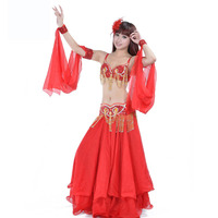 Fashion Women Dancer Sexy Beaded Belly Dance Bra Top Sequined Fringe Belt Chiffon Skirt Dancing Costume