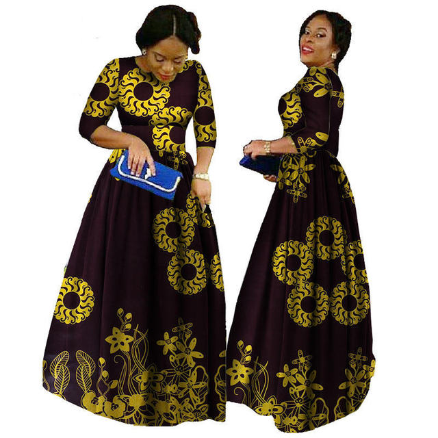 African Dresses For Women 2018 Ankara Length Plus Size Traditional African Clothing Half Sleeve Ball Gown